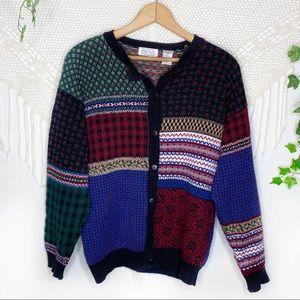 Vintage Ashley Fair Isle Button Cardigan Sweater
